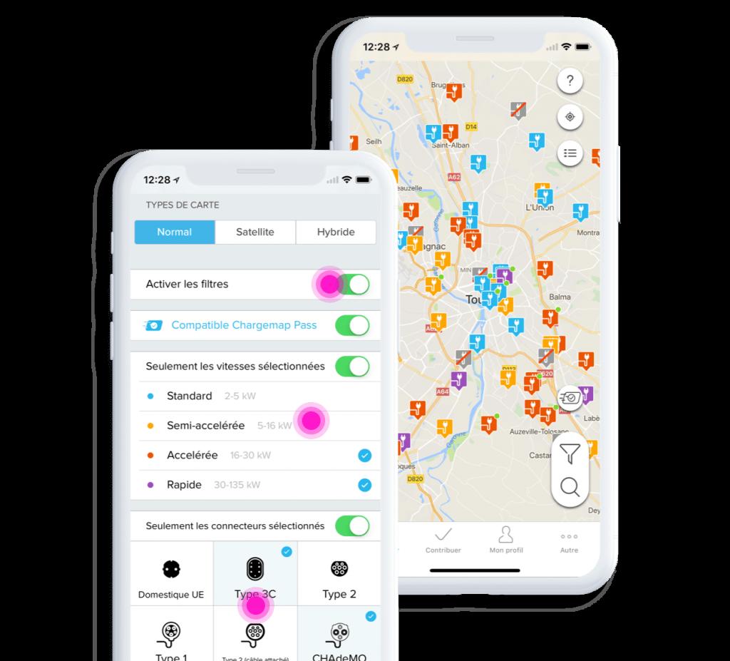 Screenshot de l'application Charge map, l'application qui trouve toutes les bornes de recharge autour de vous